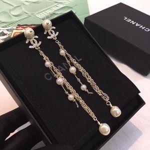 chanel pearl chain long earrings